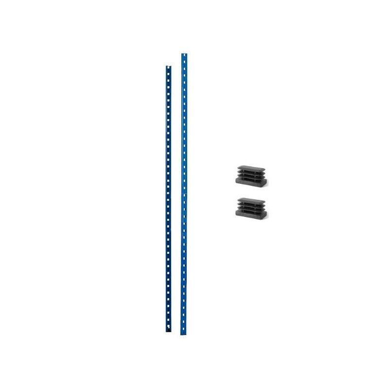 Montant ou poteau pour rayonnage metallique bleu au pas de 50 mm