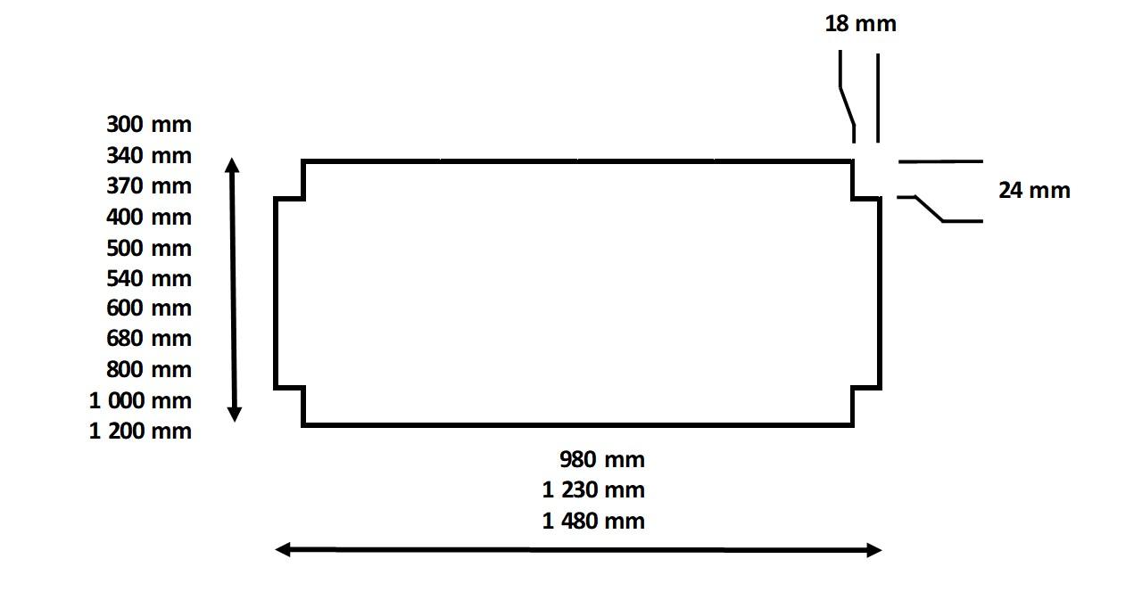 Dimensions dessus tolé pour rayonnage a étagères